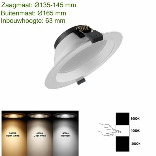 LED-Downlight 3 color Ø135 18W - prdt135-led-down-3 color