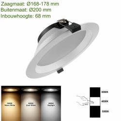 LED-Downlight 3 color Ø170 20W - prdt170 led down 3 color