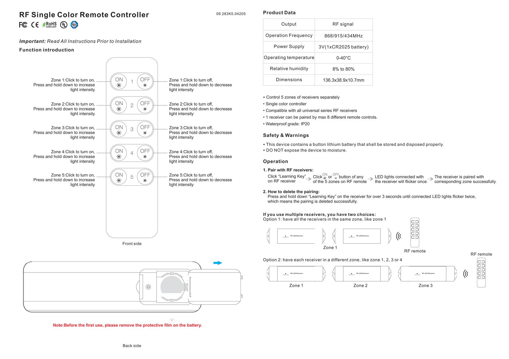 rf-dim controller-sr-2833k5
